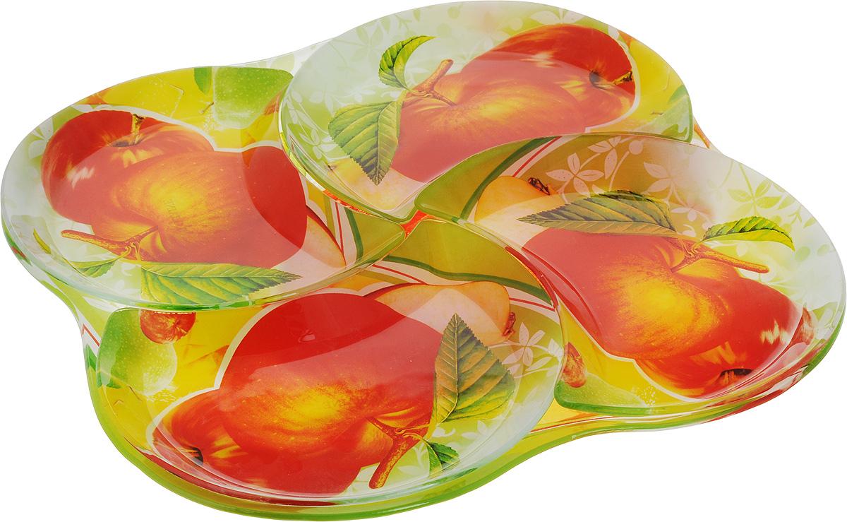 Набор столовой посуды Loraine, 5 предметов. 2390823908Набор столовой посуды Loraine включает 4 тарелки в форме полумесяца и большое блюдо, на котором они располагаются. Изделия выполнены из высококачественного закаленного стекла, декорированы рисунком в виде красных яблок. Предметы набора сочетают в себе изысканный дизайн с максимальной функциональностью. Оригинальность оформления тарелок придется по вкусу и ценителям классики, и тем, кто предпочитает утонченность и изящность. Набор тарелок послужит отличным подарком к любому празднику. Можно мыть в посудомоечной машине. Размер тарелки: 20 х 17 см. Размер блюда: 34 х 34 х 1,5 см.
