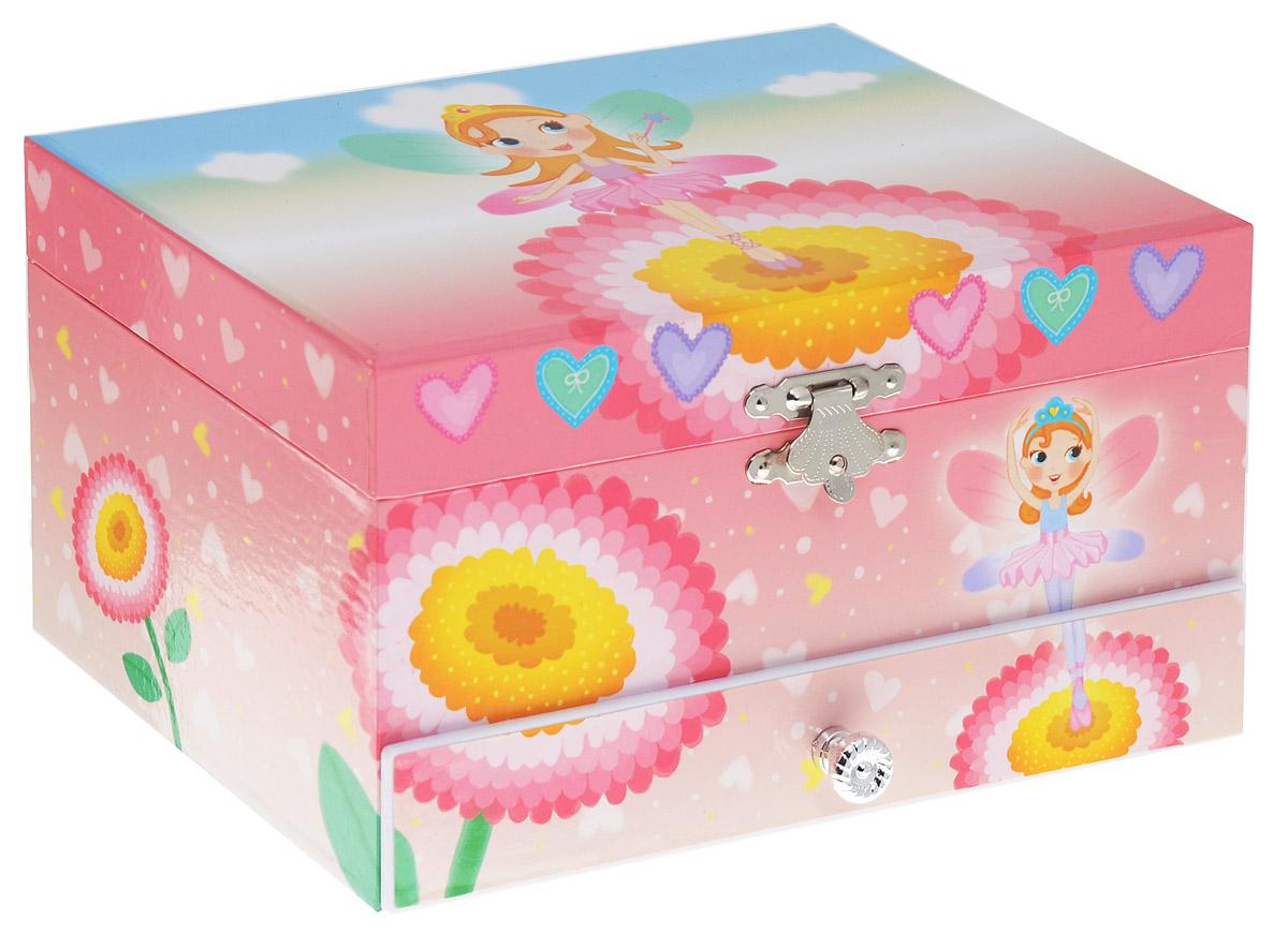 Jakos Музыкальная шкатулка Принцесса с короной цвет розовый60000 Принцесса с коронойЯркая музыкальная шкатулка Jakos Принцесса с короной приведет в восторг вашу малышку. Шкатулка выполнена из пластика и оформлена ярким изображением принцессы. Внутри шкатулки находятся два отделения для хранения разнообразных украшений, небольшое зеркальце, валики для хранения колец. Нижнее отделение выдвигается. Внутри напротив зеркальца расположена фигурка девочки, которая при открытии крышки начинает кружиться, и звучит приятная мелодия. Внутренняя поверхность шкатулки отделана мягкой светло-розовой тканью. Шкатулка оснащена металлическим заводным механизмом. Приятная мелодия музыкальной шкатулки успокаивает и дарит романтическое настроение.
