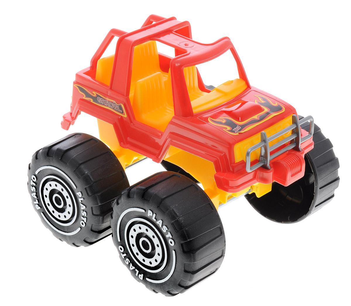 Plasto Внедорожник Биг-Фут цвет красный1609_красныйВнедорожник Plasto Биг-Фут привлечет внимание вашего ребенка и не позволит ему скучать. Он выполнен из прочного пластика очень высоко качества. Благодаря открытому кузову в него легко помещать человечков или зверюшек, чтобы покатать их. Широкие колеса выполнены из рифленого пластика, чтобы легче преодолевать препятствия и не увязнуть в песочнице. Между кузовом и колесами имеется подвижное соединение, которое позволяет юному водителю проводить маневры по пересеченной местности. Подарите своему ребенку настоящий покоритель бездорожья песочниц и детских комнат!