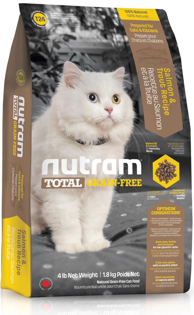 Корм сухой Nutram Total Grain-Free, для кошек и котят, беззерновой, с лососем и форелью, 1,8 кг82756Беззерновой сухой корм Nutram Total Grain-Free - натуральное и полноценное питание с низким гликемическим индексом углеводов. Корм обеспечивает ваших домашних питомцев только полезными ингредиентами, обработанными специальным способом для сохранения максимальной пользы. Рецептура корма Nutram Total Grain-Free соответствует возрастным нормам питания для кошек, установленным ассоциацией AAFCO. Он содержит в себе мясо лосося и форели высокого качества, витамины, аминокислоты и минеральные вещества. Состав: мясо форели без костей, дегидрированное мясо лосося, дегидрированное мясо рыбы менхаден, зеленый горошек, чечевица, бараний горох, каноловое масло, мясо лосося без костей, жир лососевых рыб, натуральный овощной ароматизатор, морковь, яблоки, тыква мускатная, киноа, хлорид холина, клюква, черника, ежевика, листовая капуста, корень цикория (пребиотик), витамины и минералы (витамин E, витамин С, витамин В3, витамин А, витамин В1, витамин B5, ...