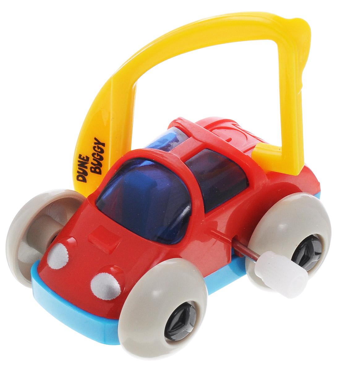 Hans Игрушка заводная Багги с фарами цвет красный желтый2K-62BD_красный с фарамиИгрушка Hans Багги привлечет внимание вашего малыша и не позволит ему скучать! Выполненная из безопасного пластика, игрушка представляет собой забавную машинку. Машинка имеет механический завод. Для запуска, придерживая колеса, поверните заводной ключ по часовой стрелке до упора. Установите игрушку на любую поверхность и она поедет вперед, также во время движения машинка поднимается на задние колеса. Заводная игрушка Hans Багги поможет ребенку в развитии воображения, мелкой моторики рук, концентрации внимания и цветового восприятия.