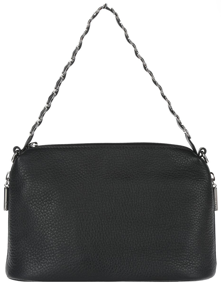 Сумка женская Palio, цвет: черный. 29132913Элегантная женская сумка Palio выполнена из натуральной кожи зернистой фактуры. Модель закрывается на пластиковую застежку-молнию. Внутри - одно отделение, разделенное карманом-средником на застежке-молнии, также есть врезной карман на застежке-молнии, два накладных кармашка для мобильного телефона и различных мелочей. Сумка снаружи дополнена двумя боковыми прорезными кармашками на застежках-молниях. Основное украшение приходится на ручку - здесь кожаный ремешок аккуратно продет сквозь металлическую цепочку с крупными квадратными звеньями. В комплекте чехол для хранения и съемный плечевой ремешок, регулируемой длины. Привлекательная сумка внесет элегантные нотки в ваш образ и подчеркнет ваше отменное чувство стиля.
