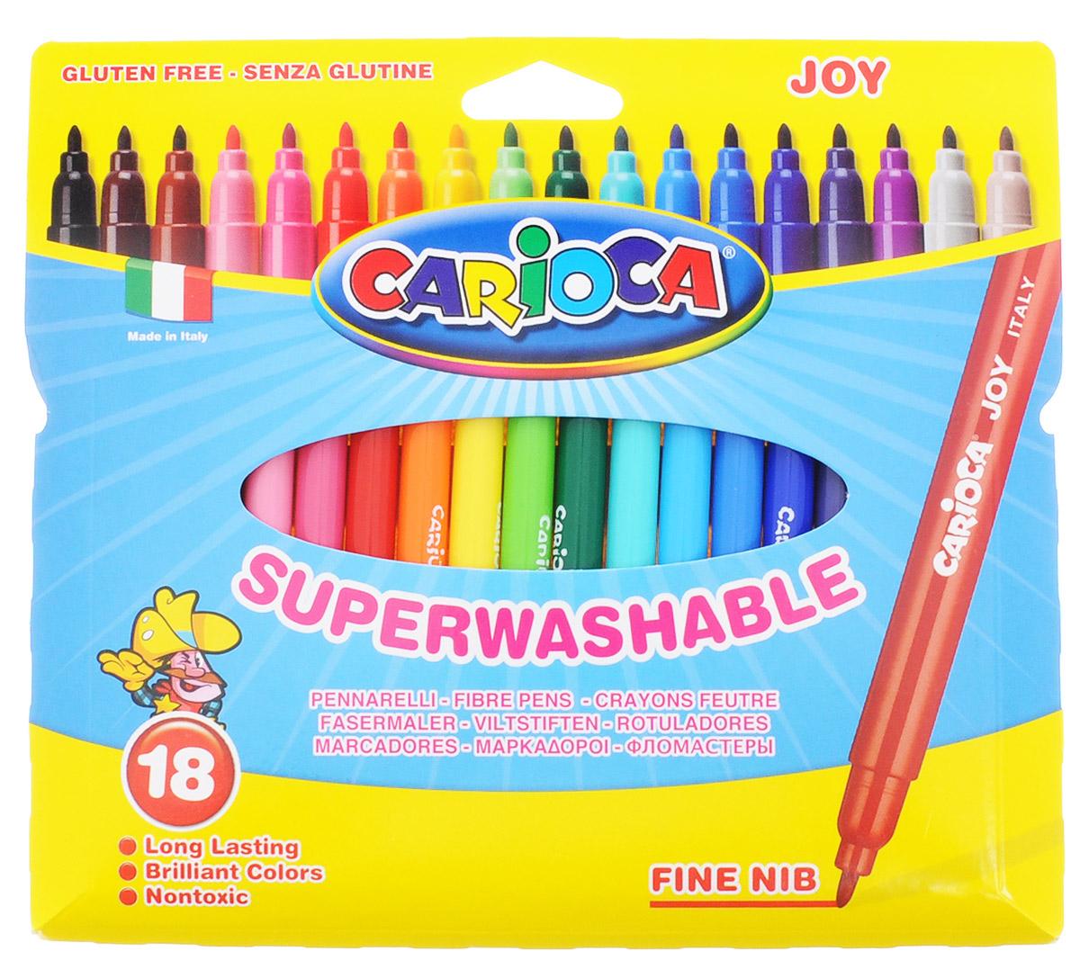 Carioca Набор фломастеров Joy 18 цветов40555/18Набор Joy состоит из 18 разноцветных фломастеров, которые отлично подойдут и для школьных занятий, и просто для рисования. Фломастеры рисуют яркими насыщенными цветами. Чернила на водной основе легко смываются с кожи и отстирываются с большинства тканей. Корпус фломастеров изготовлен из полипропилена, а колпачок имеет специальные прорези, что еще больше увеличивает срок службы чернил и предотвращает их преждевременное высыхание. Порадуйте своих детей великолепными фломастерами Joy.