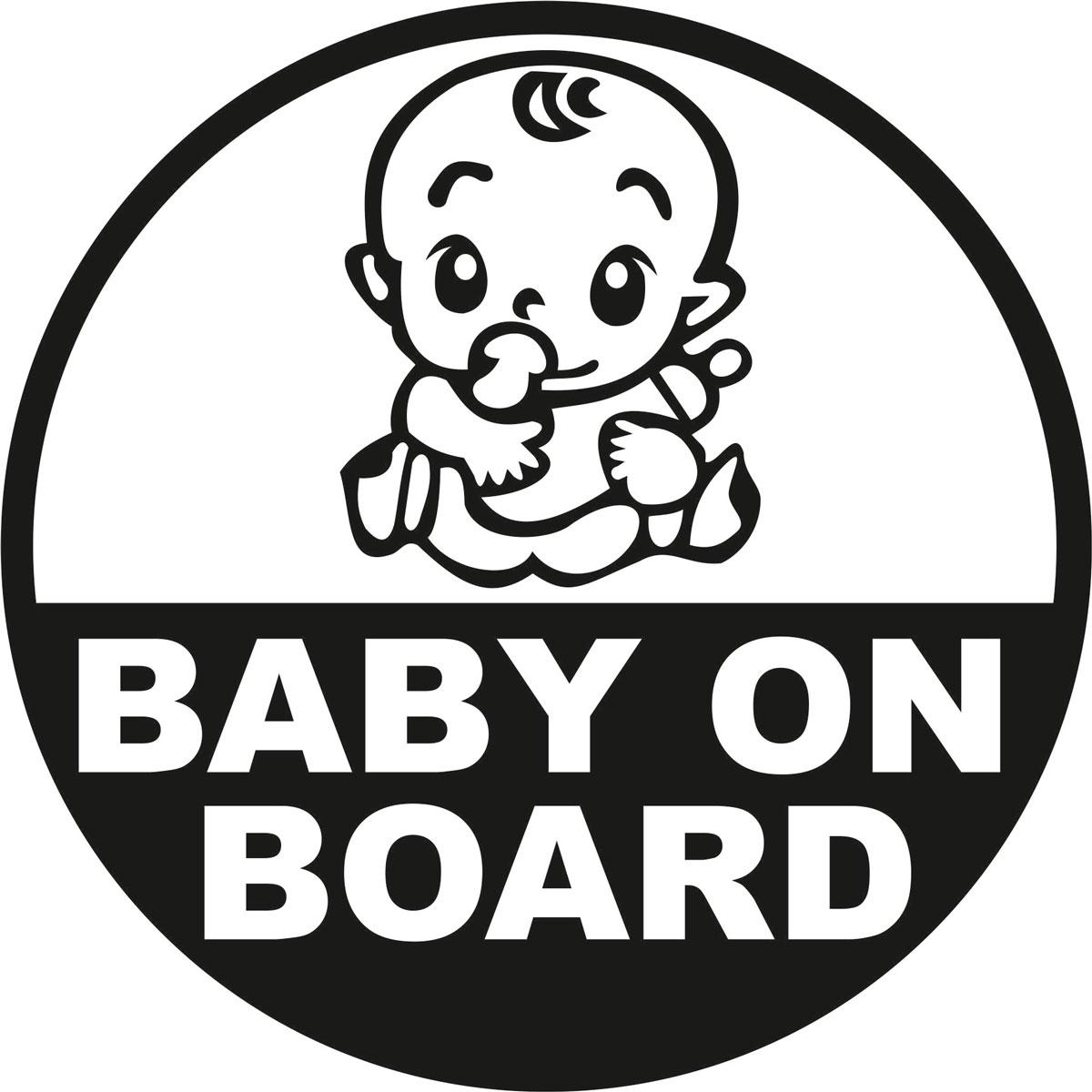 Наклейка автомобильная Оранжевый слоник Baby on Board. Круг 2, виниловая, цвет: черный150RM0008BОригинальная наклейка Оранжевый слоник Baby on Board. Круг 2 изготовлена из долговечного винила, который выполняет не только декоративную функцию, но и защищает кузов от небольших механических повреждений, либо скрывает уже существующие. Виниловые наклейки на авто - это не только красиво, но еще и быстро! Всего за несколько минут вы можете полностью преобразить свой автомобиль, сделать его ярким, необычным, особенным и неповторимым!