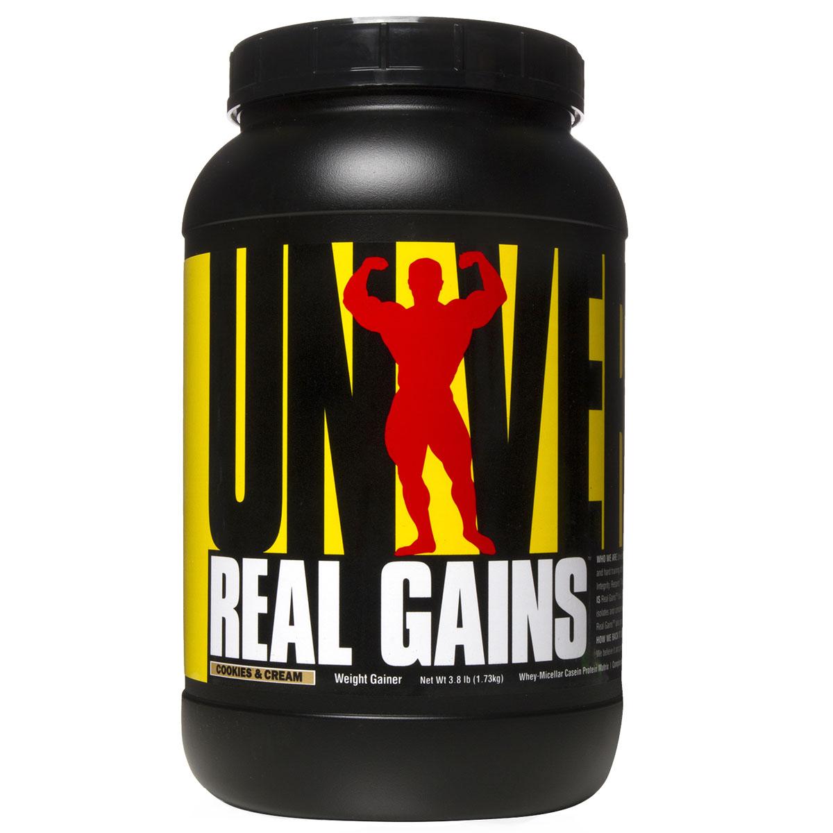 Гейнер UN Real Gains 3,81lb печеньеU1228Real Gains высококачественный углеводно-белковый концентрат для построения мышечной массы. Белковая смесь представлят собой запатентованную формулу от Universal Real Gains Protein Complex - смесь сывороточного и казеинового протеина. Ценность этого продукта также в низком содержании сахара и жиров, не несущих пользы организму. Рекомендации по применению: Принимайте одну порцию между приемами пищи и одну перед сном. Допускается разбить прием по половине порции 3-4 раза в день. Рекомендации по приготовлению: Растворите 155 г (3 с половиной мерной ложки) порошка в 300-400 мл молока или воды.