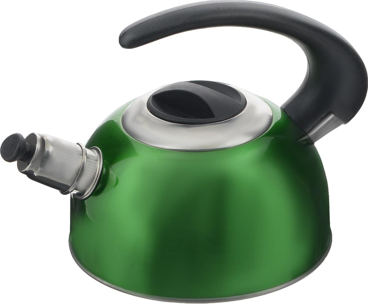 Чайник Calve, со свистком, цвет: зеленый, 1,8 лCL-1459_зеленыйЧайник Calve изготовлен из высококачественной нержавеющей стали с термоаккумулирующим дном. Нержавеющая сталь обладает высокой устойчивостью к коррозии, не вступает в реакцию с холодными и горячими продуктами и полностью сохраняет их вкусовые качества. Особая конструкция дна способствует высокой теплопроводности и равномерному распределению тепла. Чайник оснащен бакелитовой удобной ручкой. Носик чайника имеет откидной свисток, звуковой сигнал которого подскажет, когда закипит вода. Подходит для всех типов плит, включая индукционные. Можно мыть в посудомоечной машине. Диаметр чайника (по верхнему краю): 10,5 см. Высота чайника (без учета ручки и крышки): 10 см. Высота чайника (с учетом ручки): 18 см.
