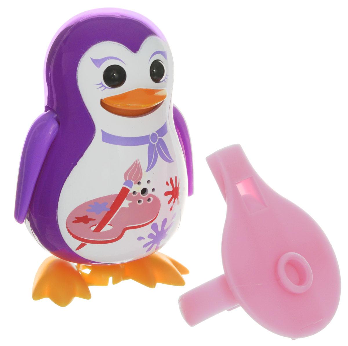DigiFriends Интерактивная игрушка Пингвин с кольцом цвет фиолетовый88333_фиолетовыйУ вас есть шанс получить уникального домашнего питомца - поющего пингвина. Не каждый может похвастаться этим. Эта интерактивная игрушка будет развлекать вас различными мелодиями, пением и ритмичными движениями. Для активизации пингвина необходимо подуть на него. Чтобы активировать режим проигрывания мелодий достаточно посвистеть в свисток, который имеется в комплекте. Игрушка издает 55 вариантов мелодий и звуков. Кольцо-свисток может служить как переносной насест для пингвина. Ребенок может надеть кольцо на два пальца, закрепить там игрушку и свободно играть или даже бегать. Пингвин DigiFriends устойчив на любой ровной поверхности. Игрушка может качаться, крутиться, махать крыльями и шевелить клювом в такт мелодии. Игрушка работает в двух режимах: соло и хор. Можно синхронизировать неограниченное количество пингвинов или других персонажей DigiFriends. Главным в хоре становится персонаж, которого первого включили. Необходимо размещать DigiFriends на...