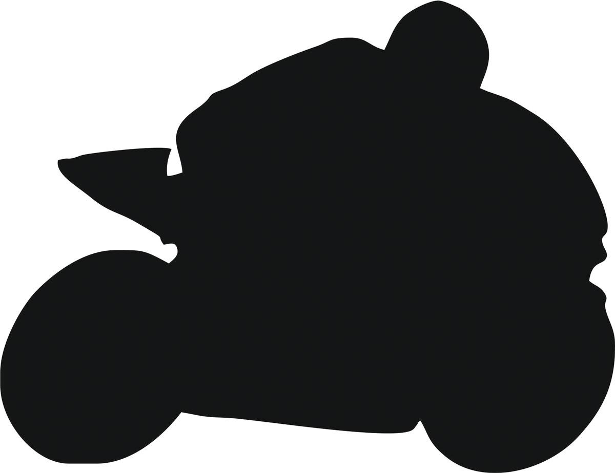 Наклейка автомобильная Оранжевый слоник Мотоциклист 2, виниловая, цвет: черный150MT0002BОригинальная наклейка Оранжевый слоник Мотоциклист 2 изготовлена из высококачественной виниловой пленки, которая выполняет не только декоративную функцию, но и защищает кузов автомобиля от небольших механических повреждений, либо скрывает уже существующие. Виниловые наклейки на автомобиль - это не только красиво, но еще и быстро! Всего за несколько минут вы можете полностью преобразить свой автомобиль, сделать его ярким, необычным, особенным и неповторимым!