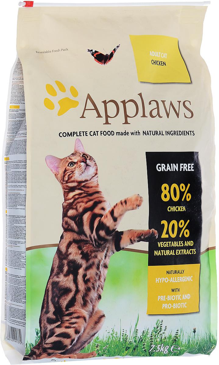 Корм сухой Applaws для кошек, беззерновой, с курицей и овощами, 7,5 кг24400Беззерновой корм для кошек Applaws изготовлен по особым рецептам, разработанными диетологами института Великобритании. Правильная диета очень важна для питомцев, ведь она меняется в зависимости от жизненного цикла. Также полнорационные корма должны включать в себя необходимое количество витаминов и минералов. В рецепте сухого корма Applaws учтен не только перечень наиболее необходимых минералов и витаминов, но и их строгий баланс. Такой корм изготавливается только из натуральных качественных ингредиентов, крокеты привлекут внимание любого, даже очень привередливого питомца. Состав: дегидрированное мясо цыпленка минимум 59%, молодой картофель минимум 4%, мелкорубленное свежее филе цыпленка минимум 9%, жир домашней птицы минимум 9% (источник Омега 6), подлива с мяса птицы приготовленной в собственном соку минимум 3%, свекла минимум 3%, яичный порошок минимум 3%, пивные дрожжи, лососевый жир (источник Омега 3), минералы, клетчатка...