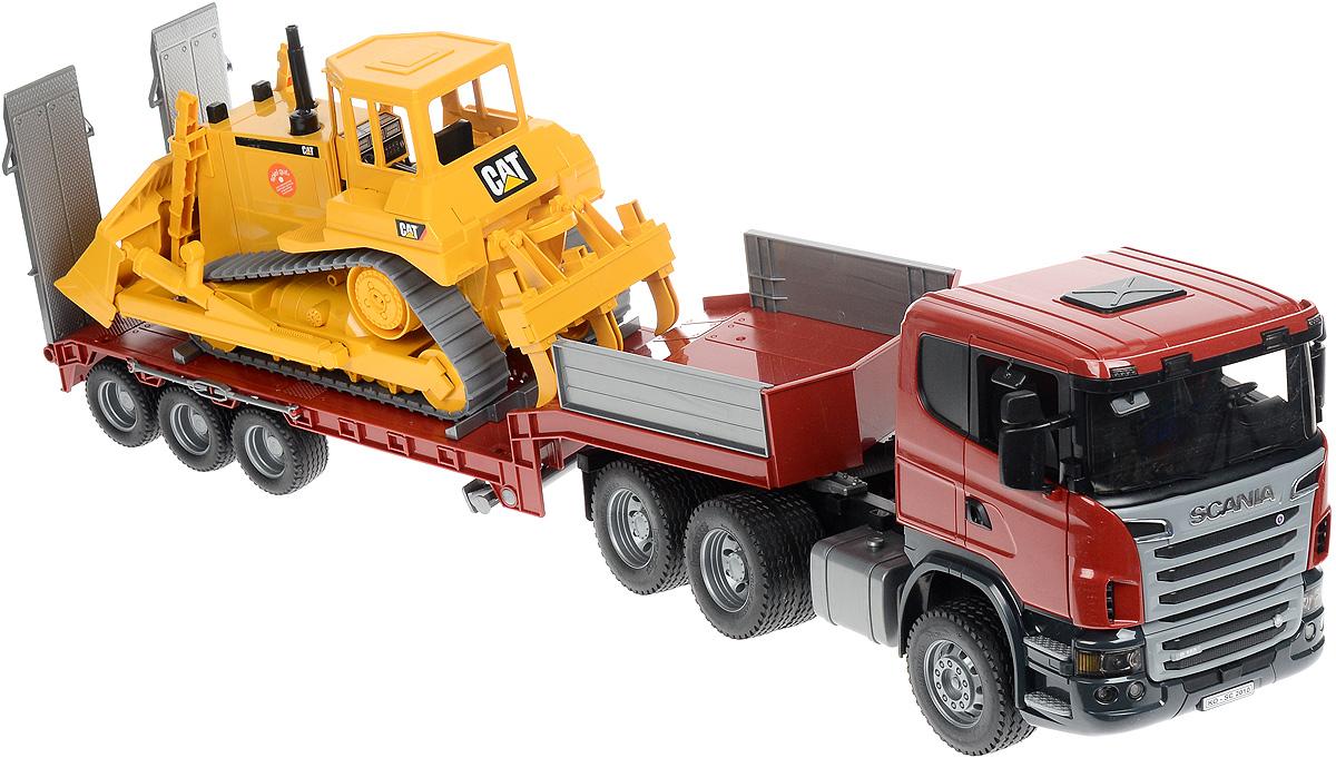 Bruder Тягач с прицепом–платформой Scania и гусеничным бульдозером Cat03-555Тягач с прицепом-платформой Scania и гусеничным бульдозером Cat Bruder выполнен в точной копии с реальной моделью в масштабе 1:16. Тягач с прицепом- платформой предназначен для буксировки различных крупных транспортных средств. Это одна из самых захватывающих игрушек, которая легко сочетается с другими игрушками Bruder. Двери водительской кабины тягача открываются, зеркала складываются. Прицеп-платформа отсоединяется от тягача и устанавливается на две опоры. Она снабжена башмаками для фиксации транспортных средств. Настил платформы опускается для загрузки транспортных средств. В комплекте запасное колесо. Колеса тягача и прицепа-платформы прорезинены. Бульдозер снабжен резиновыми гусеницами и отвалом, который поднимается/опускается и фиксируется в нескольких положениях, меняет угол наклона. Трехзубчатый разрыхлитель бульдозера можно установить в два положения - рыхление, зависание. Игра с такой техникой развивает у ребенка логическое мышление и воображение, мелкую моторику,...