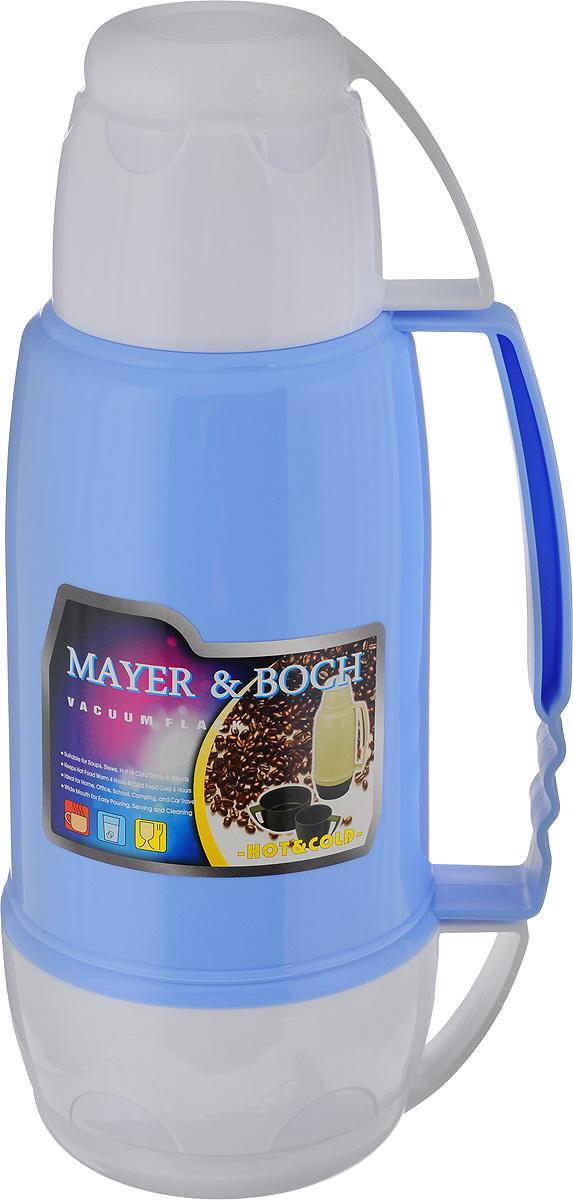 Термос Mayer & Boch, цвет: белый, голубой, 1,8 л. 2164521645Термос Mayer & Boch пригодится в любой ситуации: будь то экстремальный поход, пикник или поездка. Корпус термоса, выполненный из цветного пищевого пластика. Для удобства переноски предусмотрена ручка. Колба термоса изготовлена из стекла, которое является экологически чистым материалом и прекрасно держит температуру. Удобный носик позволит аккуратно налить напиток в съемную чашу. Термос Mayer & Boch - это идеальный вариант для большой компании и дальней поездки. В него поместится большой объем жидкости, и вы в любое время сможете насладиться любимыми напитками. Диаметр термоса (по верхнему краю): 5,5 см. Высота термоса (без учета крышки): 33,5 см. Диаметр основания термоса: 10 см. Диаметр чаш (по верхнему краю): 9,5 см; 14 см. Высота чаш: 8,5 см; 8 см.