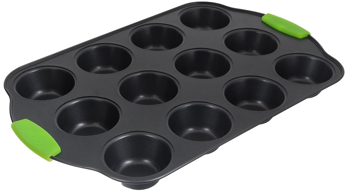 Форма для выпечки кексов Calve, с антипригарным покрытием, цвет: темно-серый, зеленый, 12 ячеекCL-4585_темно-серый, зеленыйФорма для выпечки кексов Calve изготовлена из высококачественной углеродистой стали с антипригарным покрытием. Изделие снабжено ненагревающимися ручками с силиконовыми вставками. Форма равномерно и быстро прогревается, что способствует лучшему пропеканию пищи. Ее легко чистить. Готовая выпечка без труда извлекается. Простая в уходе и долговечная в использовании форма для выпечки Calve станет верным помощником в создании ваших кулинарных шедевров. Можно мыть в посудомоечной машине. Размер формы: 41 х 26 х 3,5 см. Размер ячейки: 7 х 7 х 3,5 см.