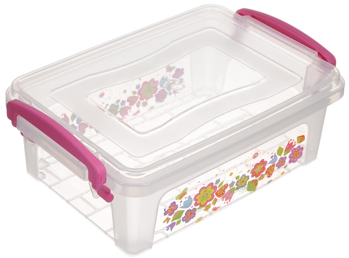 Контейнер Dunya Plastik Клиер Ниш, цвет: прозрачный, розовый, 1,25 л30251_прозрачный,розовый,цветыКонтейнер Dunya Plastik Клиер Ниш, выполненный из прочного пластика, предназначен для хранения различных мелких вещей. Крышка легко открывается и плотно закрывается. Прозрачные стенки позволяют видеть содержимое. По бокам предусмотрены две удобные ручки, с помощью которых контейнер закрывается. Контейнер поможет хранить все в одном месте, а также защитить вещи от пыли, грязи и влаги.