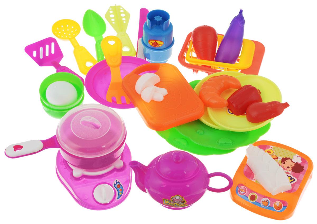 Plastic Toy Игровой набор Cutlery SetJ011-H38043Игровой набор Plastic Toy Cutlery Set, состоящий из посуды и продуктов, понравится маленьким хозяюшкам, ведь с такой посудой можно пригласить на чаепитие все свои игрушки. Посуда яркая и разноцветная, поэтому ее смело можно поставить на праздничный стол, чтобы отметить день рождения любимой куклы, играя в дочки - матери. Игрушечная посуда изготовлена из качественных и нетоксичных материалов. С этим набором ваша малышка будет часами занята игрой, придумывая различные истории.