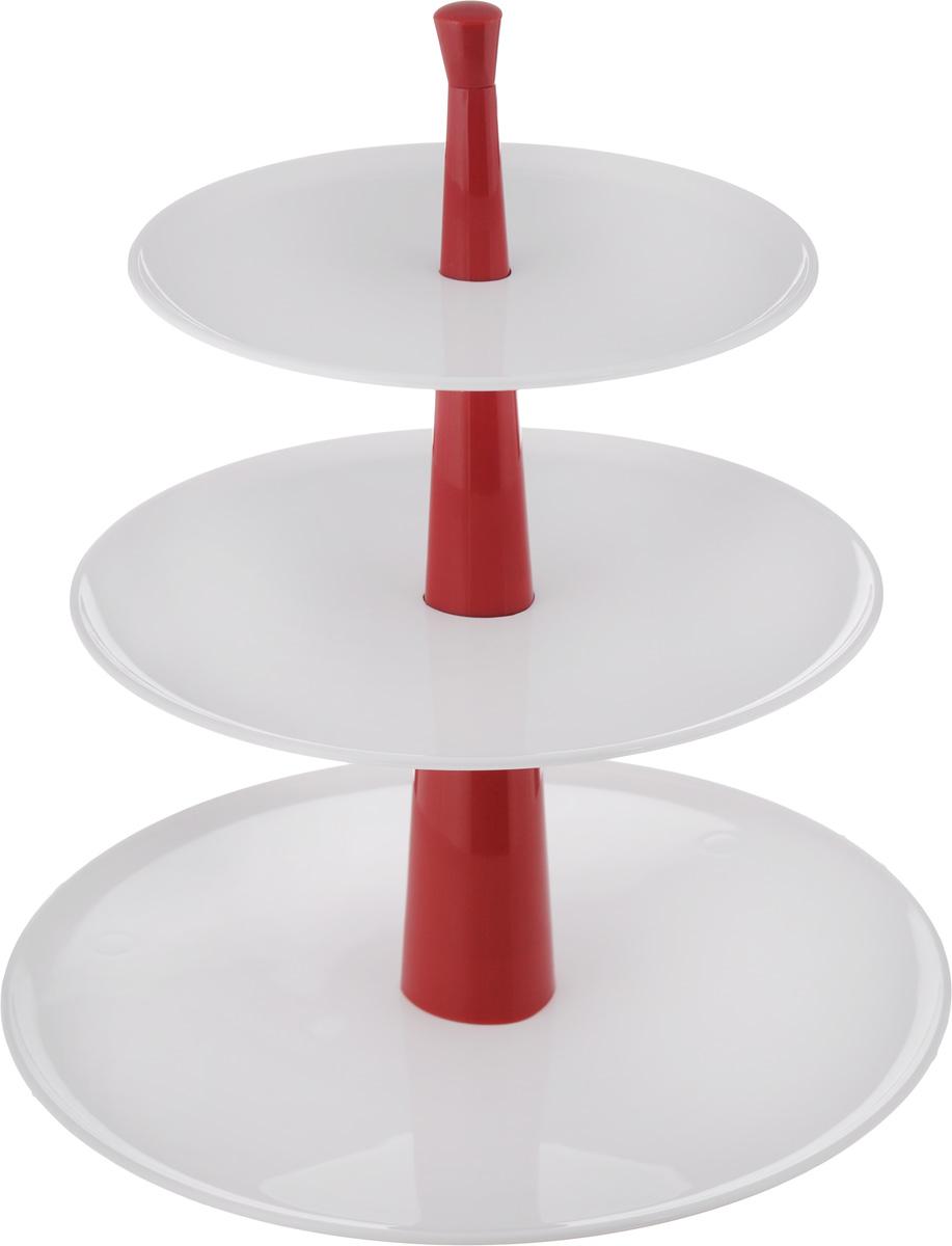 Этажерка для закусок и десертов Tescoma Delicia, трехъярусная, цвет: белый, красный, высота 30 см630728_белый, красныйТрехъярусная этажерка Tescoma Delicia идеально подходит для стильной сервировки сладостей, десертов, закусок и т.д. Этажерку легко собрать и разобрать, она удобна для хранения. Состоит из превосходных устойчивых пластиковых плоских блюд, которые можно мыть в посудомоечной машине. Стержень мыть в посудомоечной машине нельзя. Высота этажерки: 30 см. Диаметр блюд: 17,5 см, 21 см, 26 см.