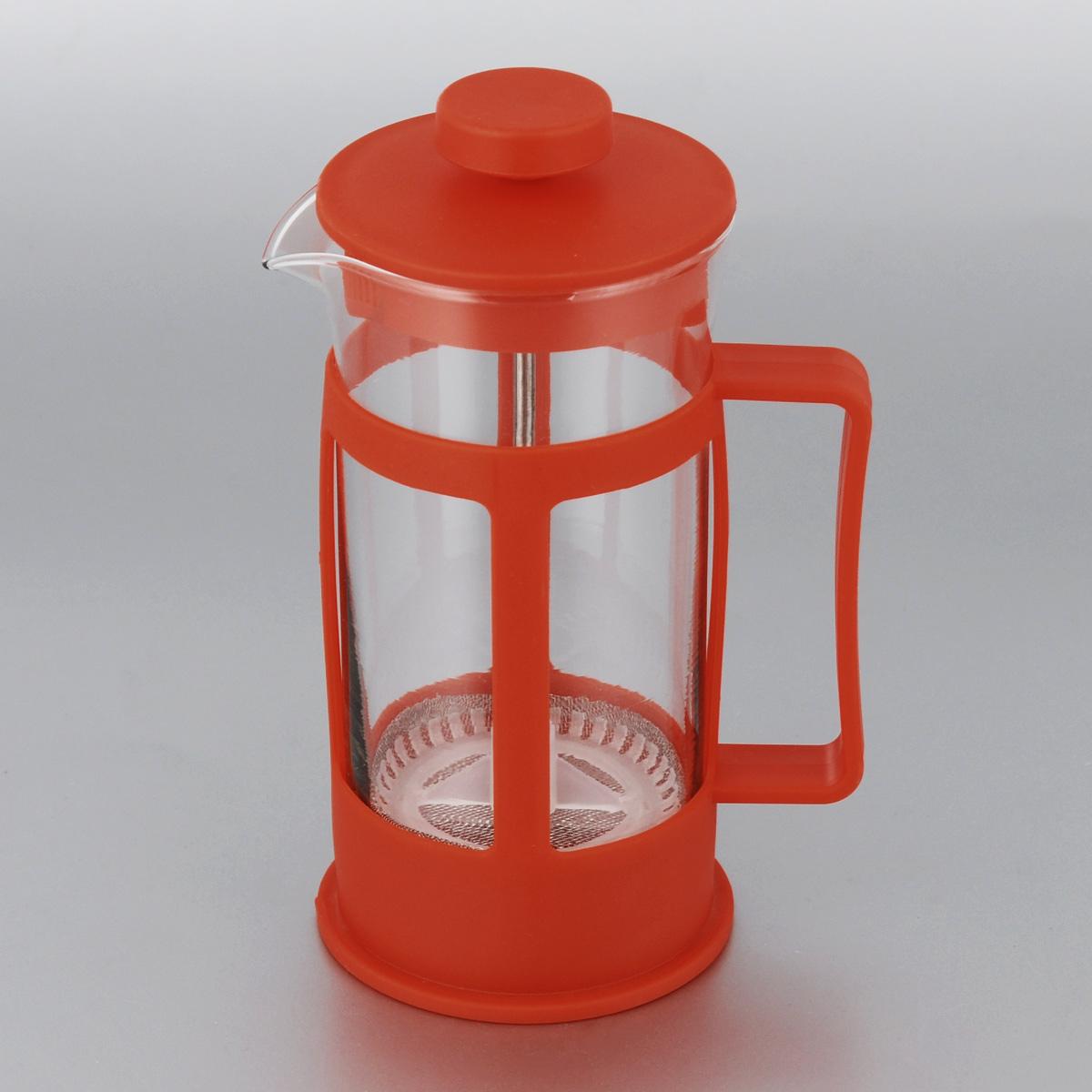 Кофейник МФК-профит, цвет: красный, 300 мл300B-1Френч-пресс МФК-профит поможет приготовить вкусный и ароматный чай или кофе. Корпус выполнен из высококачественного термостойкого пластика, а колба - из жаропрочного боросиликатного стекла. Чайник снабжен фильтром из метала с пластиковым элементом и удобной ручкой. Не рекомендуется использовать в посудомоечной машине и в микроволновой печи. Диаметр (по верхнему краю): 7 см. Высота чайника (без учета крышки): 14 см.