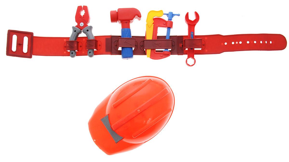 Plastic Toy Игровой набор строительных инструментов цвет каски красныйL458-H24002_красная каскаИгровой набор строительных инструментов Plastic Toy станет отличным подарком для маленького мастера. В наборе имеется все, что может пригодиться юному строителю: молоток, ручная пила, гаечный ключ, плоскогубцы, винтовой зажим, пояс для инструментов, каска. Малыш сможет отремонтировать игрушки и устранить все неисправности в доме, помогая папе. Игры с этим набором способствуют развитию воображения и познавательного мышления. Изделия набора выполнены из нетоксичного и качественного пластика.