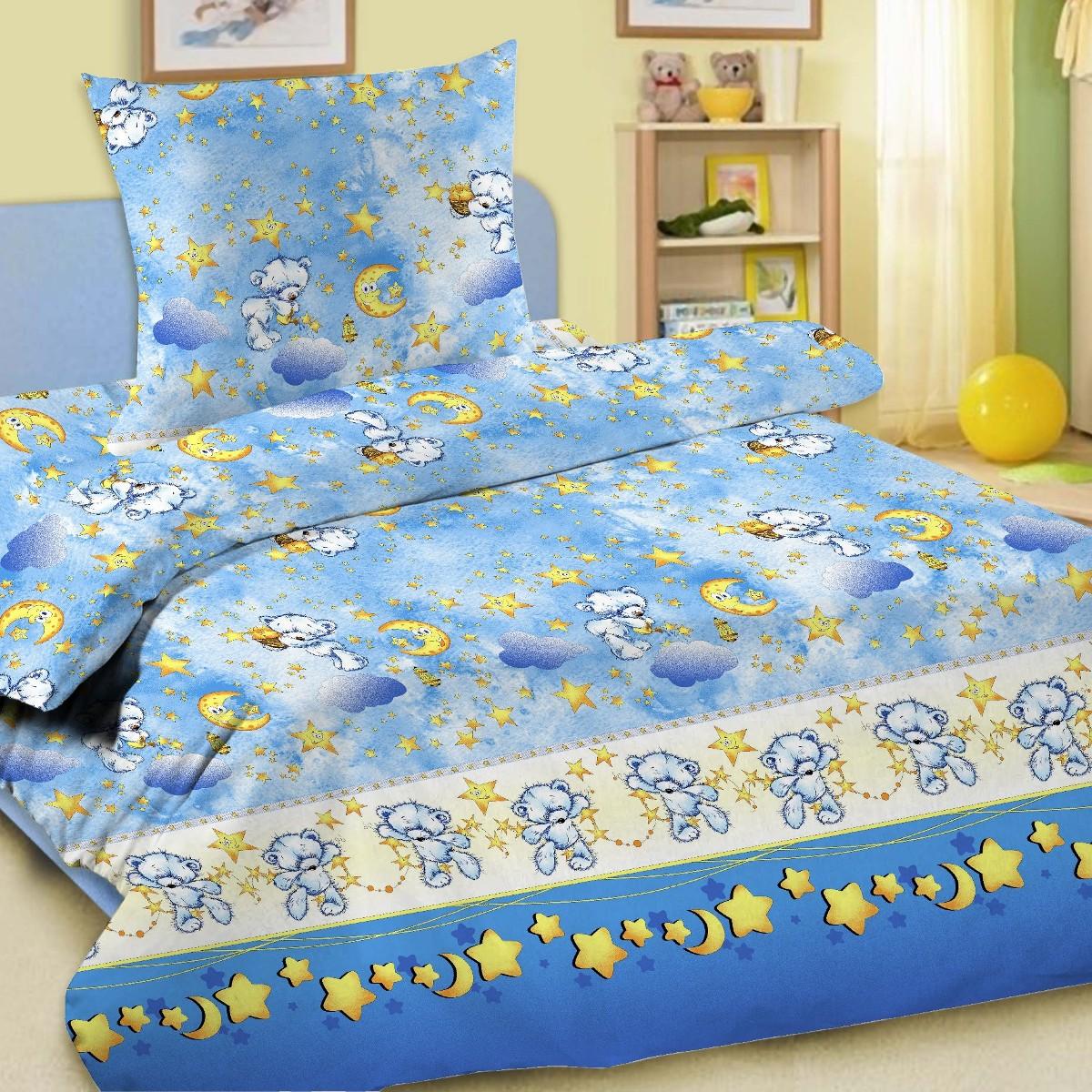 Letto Комплект белья для новорожденных Ясли простыня на резинке цвет голубой BGR-18