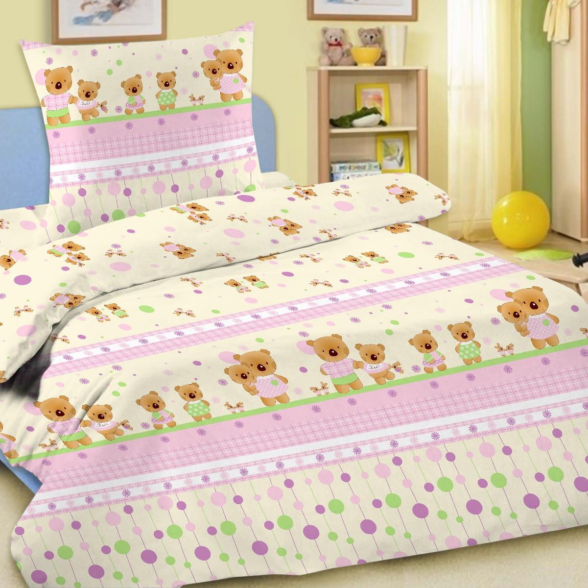 Letto Комплект белья для новорожденных Ясли простыня на резинке цвет розовый BGR-14