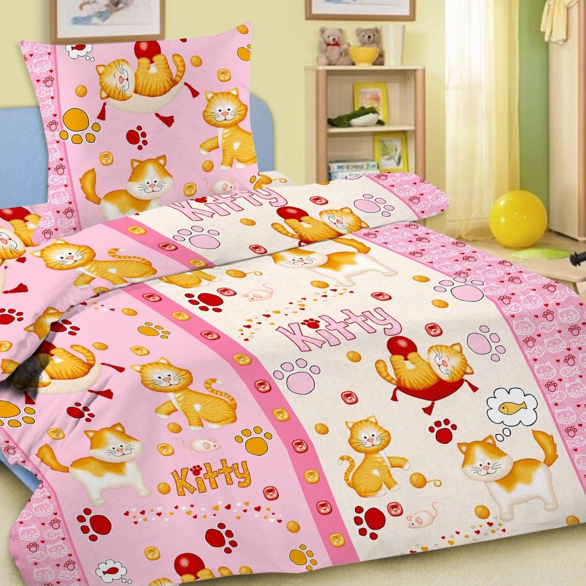Letto Комплект детского постельного белья Китти цвет розовыйkitty_rose-50Letto.kids - это веселые детские и подростковые дизайны, в хлопковом исполнении с хорошими устойчивыми красителями и все это по очень доступной цене! Такое белье прослужит долго и выдержит много стирок. Рисунок на наволочке может отличаться от представленного на фото.