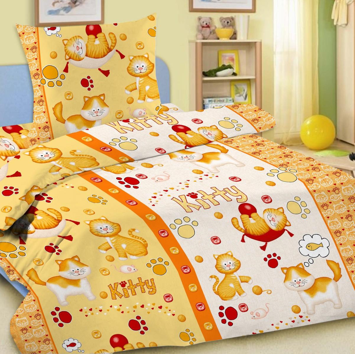 Letto Комплект детского постельного белья Китти цвет желтыйkitty_yellow-50Letto.kids - это веселые детские и подростковые дизайны, в хлопковом исполнении с хорошими устойчивыми красителями и все это по очень доступной цене! Такое белье прослужит долго и выдержит много стирок. Рисунок на наволочке может отличаться от представленного на фото.