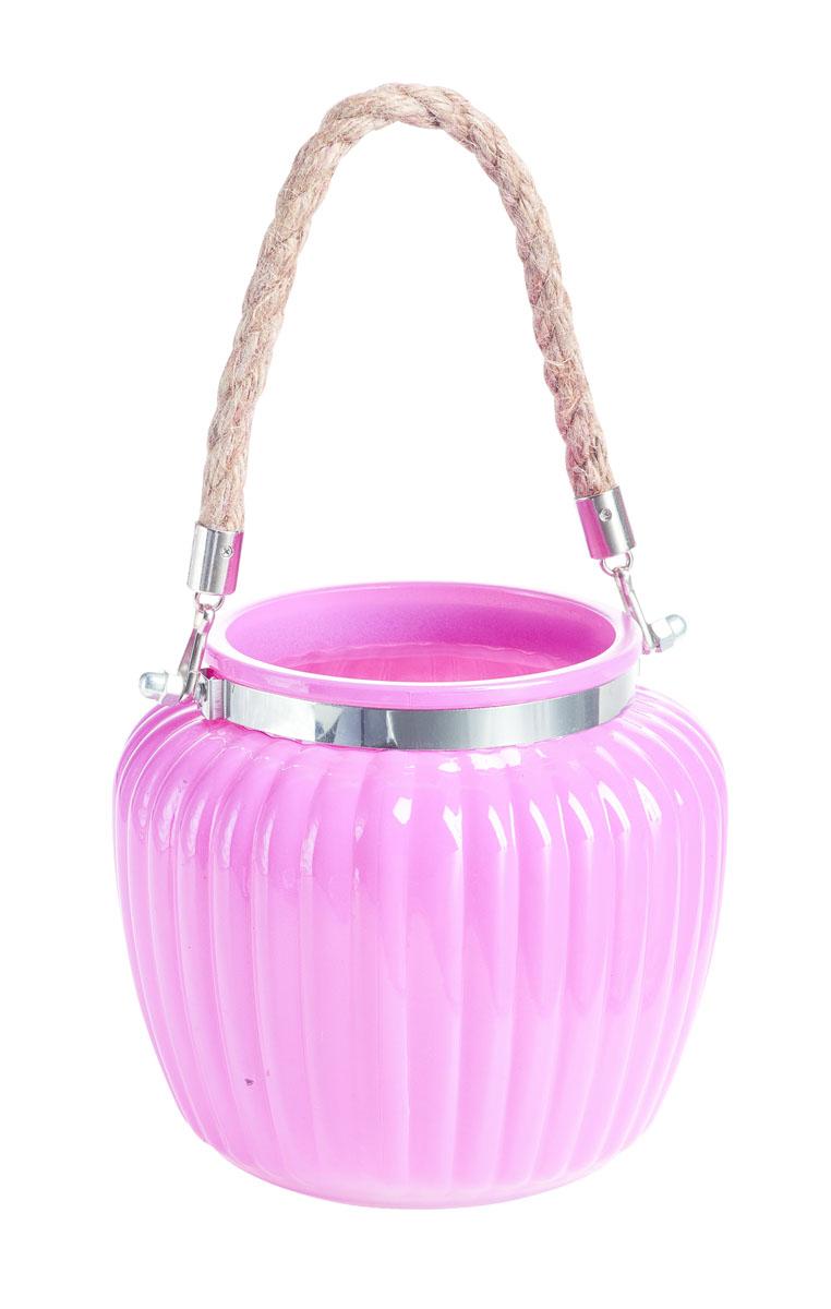 """Подсвечник подвесной Gardman """"Ribbed Jar. Medium"""", цвет: розовый, 13 см 17447"""