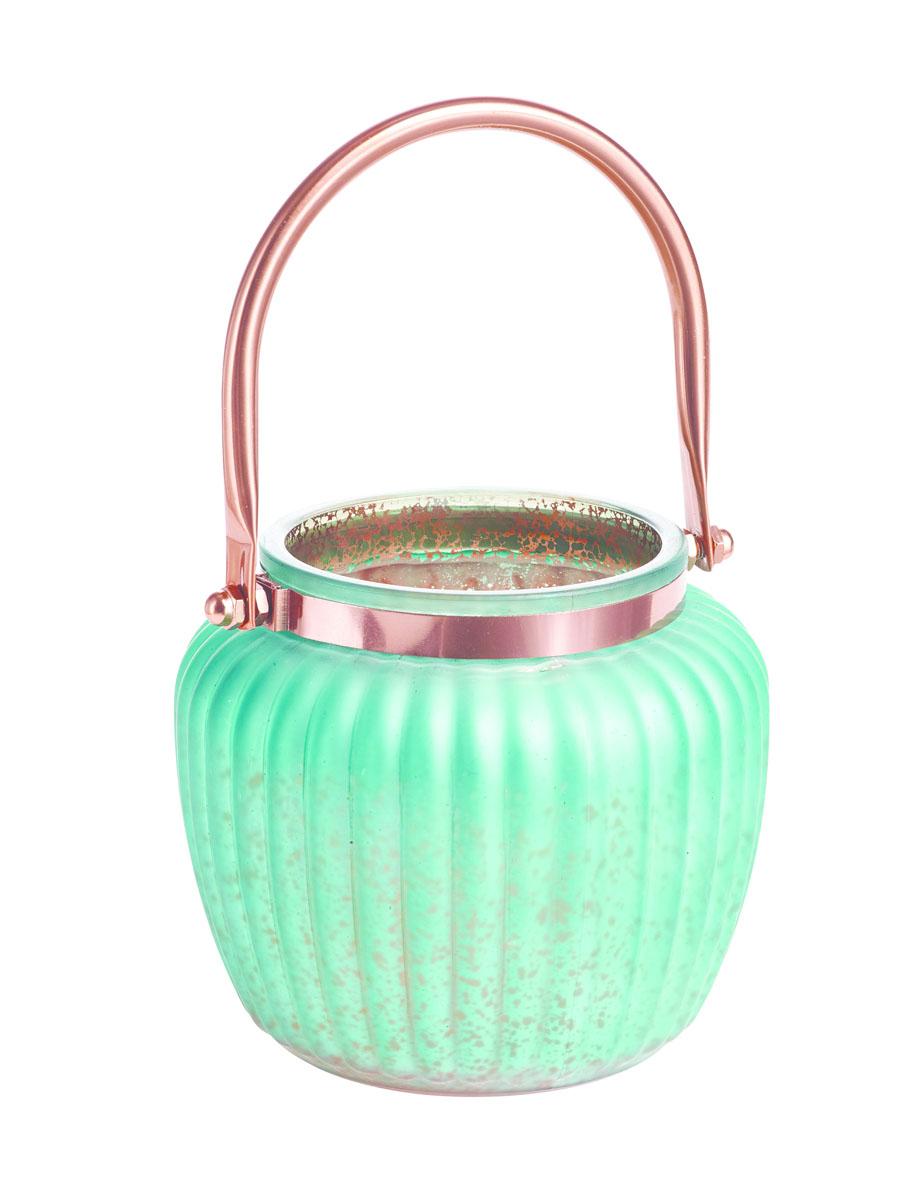 Подсвечник Gardman Ribbed Jar. Medium, цвет: светло-зеленый, 13 см17627