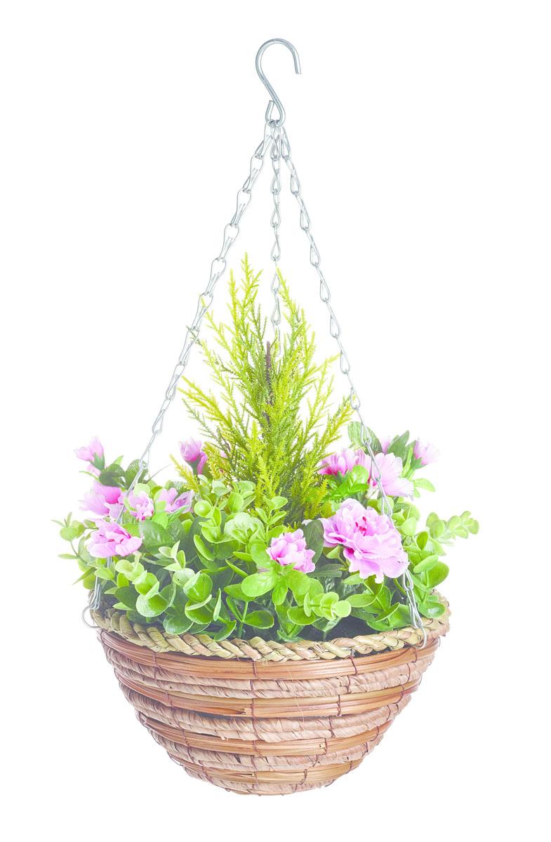 Корзина подвесная Gardman с искуственными растениями (азалия, эвкалипт) 25см