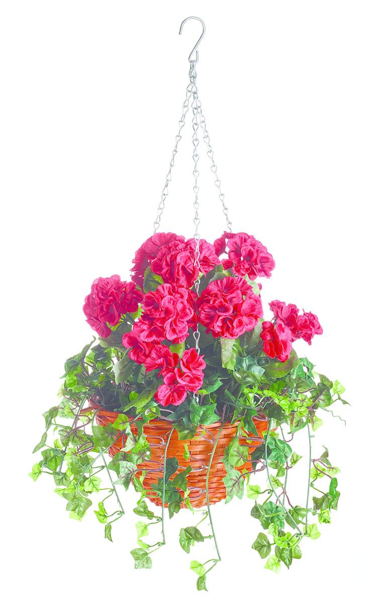 Корзина подвесная Gardman с искуственными растениями (герань) 30см02833