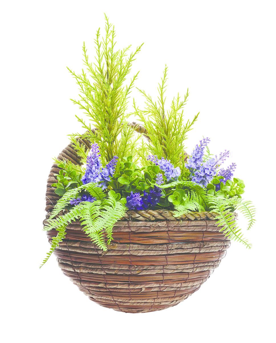 Кашпо настенное Gardman с искуственными растениями (лаванда) 28см02836