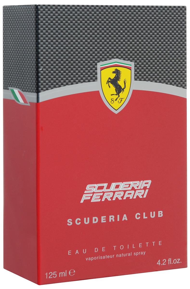 Ferrari Туалетная вода  SCUDERIA CLUB мужская, 125 мл67000116Scuderia Ferrari Scuderia Club Ferrari - это аромат для мужчин, принадлежит к группе ароматов фужерные. Scuderia Ferrari Scuderia Club выпущен в 2013. Верхние ноты: Цитрусы, кардамон, Имбирь, Базилик и перчная мята; ноты сердца: Лаванда, Герань, Розмарин, Белая фрезия, Зеленый чай и мускатный орех; ноты базы: Ветивер, амброксан (ambroxan), Дерево Гуаяк и Тонка бобы.