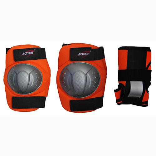Комплект защиты Action, для катания на роликах, цвет: оранжевый, серый, черный. Размер M. PWM-36028263321Основные характеристики Комплектность: наколенник - 2шт., налокотник - 2шт., наладонник - 2шт. Размер: M (соответствует размерам коньков 34-40) Материалы: основа - нейлон, защитные накладки - поливинилхлорид Цвет: оранжевый/серый/черный Вид использования: любительское катание на роликовых коньках Страна-производитель: Китай Упаковка: полиэтиленовый пакет с европодвесом Наиболее распространённой является тройная защита – наколенники, налокотники и наладонники со специальными пластинами на запястьях. Такой набор защиты для катания на роликовых коньках считается оптимальным, предохраняя от травм самые уязвимые места при катании.