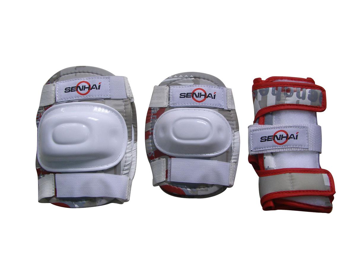 Комплект защиты Action, для катания на роликах, цвет: бежевый, красный, белый. Размер L. PWM-30228263270Основные характеристики Комплектность: наколенник - 2шт., налокотник - 2шт., наладонник - 2шт. Размер: L (соответствует размерам коньков 38-43) Материалы: основа - нейлон, защитные накладки - поливинилхлорид Цвет: бежевый/красный/белый Вид использования: любительское катание на роликовых коньках Страна-производитель: Китай Упаковка: полиэтиленовый пакет с европодвесом Наиболее распространённой является тройная защита – наколенники, налокотники и наладонники со специальными пластинами на запястьях. Такой набор защиты для катания на роликовых коньках считается оптимальным, предохраняя от травм самые уязвимые места при катании.