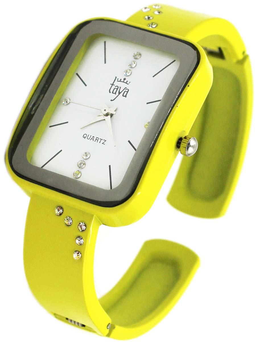 Часы TAYA T-W-0463-WATCH-YELLOWT-W-0463-WATCH-YELLOWFashion аксессуар - браслет с часами. Раздвижной браслет с пружинным механизмом позволяет одеть часы на любую руку. Часы наручные электронно-механические кварцевые, аксессуарные, с механической индикацией. Часовой механизм MORIOKA TOKEI inc., Сингапур с питанием от сменного кварцевого элемента питания типа LR626. Гипоаллергенный бижутерный сплав, корпус из нержавеющей стали, минеральное стекло, стразы, эмаль