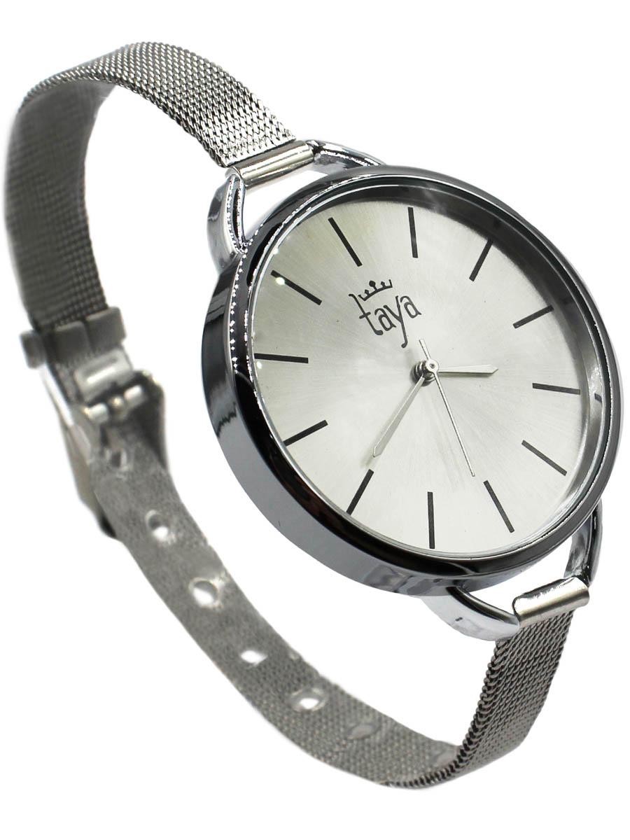Часы наручные женские Taya, цвет: серебристый. T-W-0475T-W-0475-WATCH-SILVERЭлегантные женские часы Taya выполнены из минерального стекла, металла и нержавеющей стали. Циферблат оформлен символикой бренда. Корпус часов оснащен кварцевым механизмом со сменным элементом питания, а также дополнен металлическим ремешком-цепочкой, который застегивается на пряжку. Часы поставляются в фирменной упаковке. Часы Taya подчеркнут изящность женской руки и отменное чувство стиля у их обладательницы.