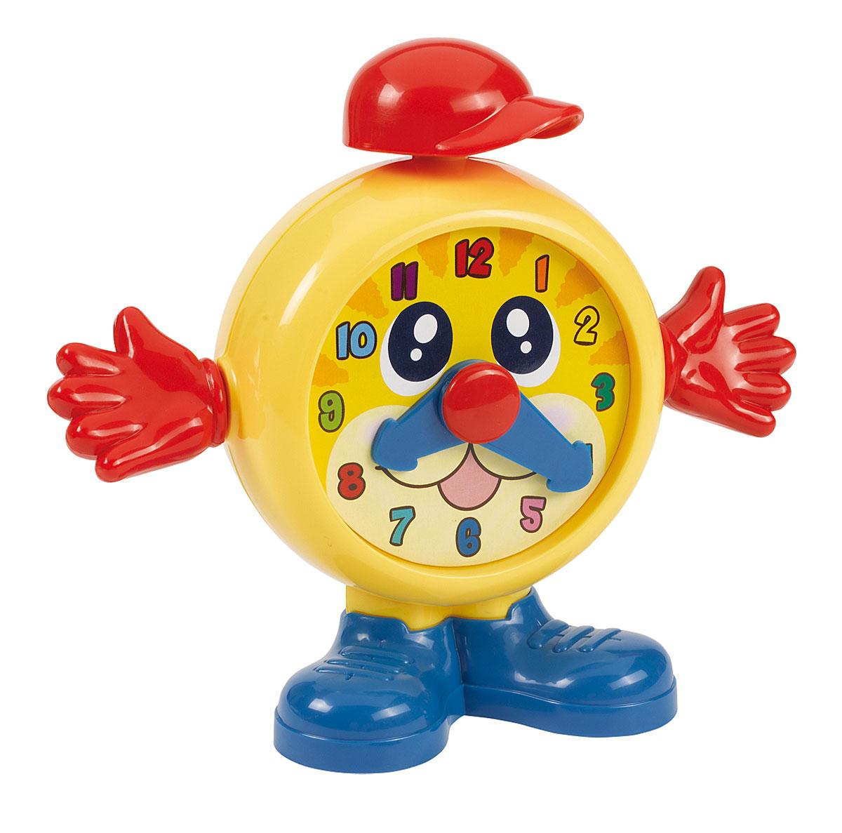 Simba Обучающая игрушка Часики цвет желтый красный синий4017281_желтый, красный, синийОбучающая игрушка Часики замечательно подойдет для увлекательных и познавательных игр малыша. Часы выполнены из яркого безопасного пластика в виде человечка с лицом-циферблатом. Будильник дополнен ручками и красной кепкой. Циферблат оформлен цифрами и двумя подвижными стрелками. Ручки часиков крутятся с веселым треском. С помощью ручек можно управлять стрелками. При нажатии на кепку будильника, раздается забавный звук. Обучающая игрушка Часики поможет ребенку в развитии цветового и звукового восприятия, мелкой моторики рук, координации движений, познакомит с функциями часов.