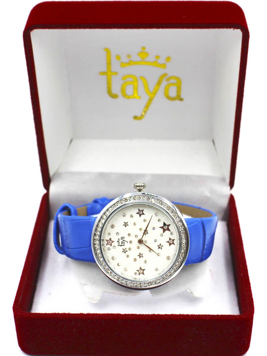 Часы TAYA T-W-0011-WATCH-SL.D.BLUET-W-0011-WATCH-SL.D.BLUEСтильные часы с серебряным циферблатом со стразами по окружности. Внутри имитация звездного неба с множеством созвездий. Часы наручные электронно-механические кварцевые, аксессуарные, с механической индикацией. Часовой механизм MORIOKA TOKEI inc., Сингапур с питанием от сменного кварцевого элемента питания типа LR626. Гипоаллергенный бижутерный сплав, корпус из нержавеющей стали, минеральное стекло, экокожа, стразы.