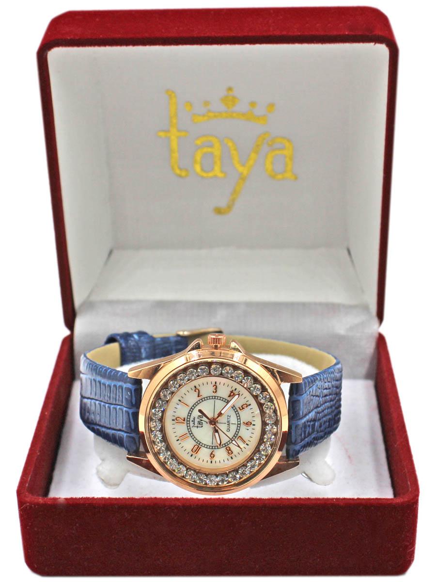 Часы наручные женские Taya, цвет: золотистый, темно-синий. T-W-0035T-W-0035-WATCH-GL.D.BLUEЭлегантные женские часы Taya выполнены из минерального стекла, искусственной кожи и нержавеющей стали. Корпус часов украшен стразами, циферблат оформлен перламутром и символикой бренда. Корпус часов оснащен кварцевым механизмом со сменным элементом питания, а также дополнен ремешком из искусственной кожи, который застегивается на пряжку. Ремешок декорирован тиснением под кожу рептилии. Часы поставляются в фирменной упаковке. Часы Taya подчеркнут изящность женской руки и отменное чувство стиля у их обладательницы.