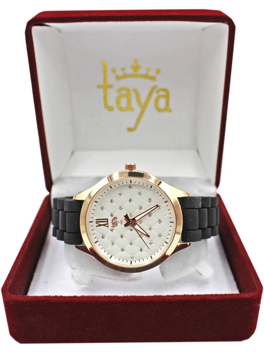 Часы TAYA T-W-0205-WATCH-GL.BLACKT-W-0205-WATCH-GL.BLACKМодные женские часы с золотым циферблатом. Стильный циферблат декорирован решетчатым стеганым принтом, по углам которого сверкающие стразы. Часы наручные электронно-механические кварцевые, аксессуарные, с механической индикацией. Часовой механизм MORIOKA TOKEI inc., Сингапур с питанием от сменного кварцевого элемента питания типа LR626. Гипоаллергенный бижутерный сплав, корпус из нержавеющей стали, минеральное стекло, силикон, стразы.