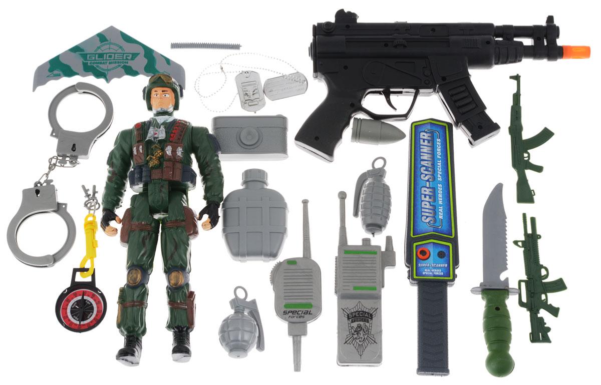 Plastic Toy Игровой набор Real HeroesK321-H16597Игровой набор Plastic Toy Real Heroes - игровой набор для бравых ребят. Набор содержит все необходимое для проведения военного маневра. Комплект содержит реалистичный автомат-трещетку и множество аксессуаров: рацию, наручники, гранаты и многое другое. В бейджик можно вписать свои данные, ведь быть военным - это ответственное и серьезное дело. Фигурка солдата в форме станет надежным напарником, готовым прикрыть в любую минуту.