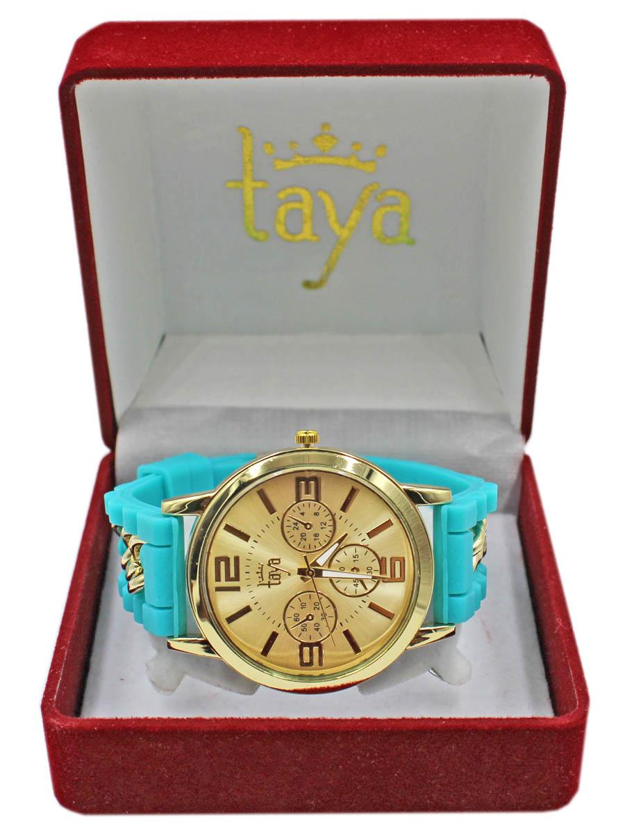 Часы TAYA T-W-0223-WATCH-GL.TURQT-W-0223-WATCH-GL.TURQКрупные часы унисекс на силиконовом ремешке, внутри которого пропущена золотая цепь. Циферблат, деления и заметные цифры золотого цвета. Минутная и часовая стрелки с белым напылением для заметности. Часы наручные электронно-механические кварцевые, аксессуарные, с механической индикацией. Часовой механизм MORIOKA TOKEI inc., Сингапур с питанием от сменного кварцевого элемента питания типа LR626. Гипоаллергенный бижутерный сплав, корпус из нержавеющей стали, минеральное стекло, силикон.