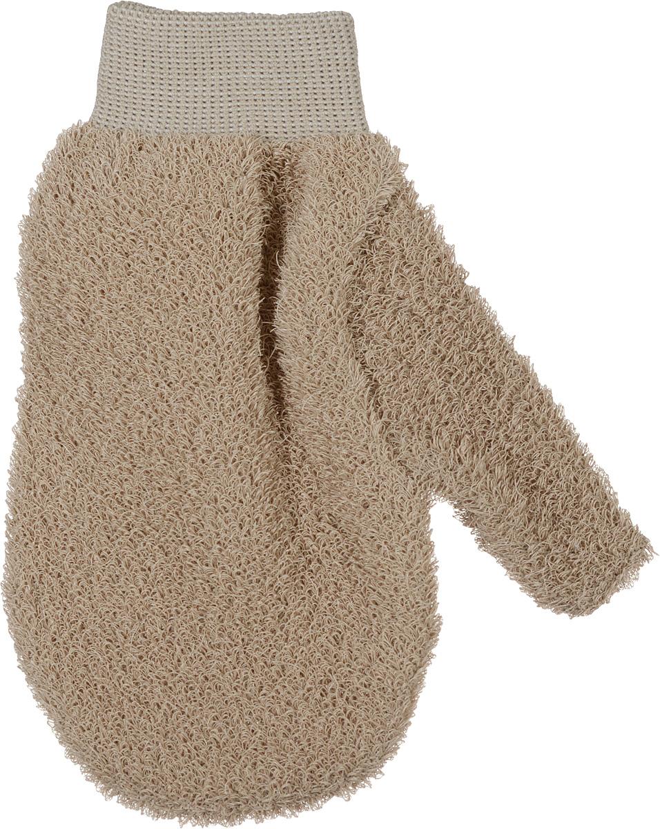 Riffi Мочалка-рукавица массажная, жесткая, цвет: коричневый