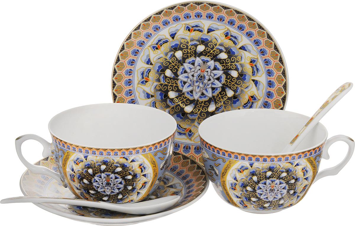 Набор чайных пар Elan Gallery Калейдоскоп, с ложками, 6 предметов730423Набор чайных пар Elan Gallery Калейдоскоп состоит из 2 чашек, 2 блюдец и 2 ложек, изготовленных из высококачественной керамики. Предметы набора оформлены изящным узорчатым рисунком. Набор чайных пар Elan Gallery Калейдоскоп украсит ваш кухонный стол, а также станет замечательным подарком друзьям и близким. Объем чашек: 250 мл. Диаметр чашек по верхнему краю: 9,5 см. Высота чашек: 6 см. Диаметр блюдец: 14 см. Длина ложек: 13 см.