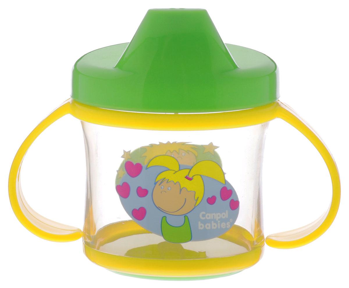 Canpol Babies Поильник-непроливайка от 9 месяцев цвет желтый салатовый 200 мл2/780_желтый, салатовыйПоильник-непроливайка Canpol Babies поможет вашему малышу незаметно перейти от кормления из бутылочки к самостоятельному питью. Изготовлен из ударопрочного и износостойкого материала, оснащен уникальным клапаном, который разработан таким образом, чтобы ребенок мог пить самостоятельно, не проливая при этом содержимое. Ручки позволяют ребенку легко хватать, удерживать поильник в своих маленьких ручках. Поильник имеет жесткий носик. Оригинальный яркий, контрастный узор привлечет и вызовет интерес у малыша. Не содержит бисфенол-А. Для детей от 9 месяцев.