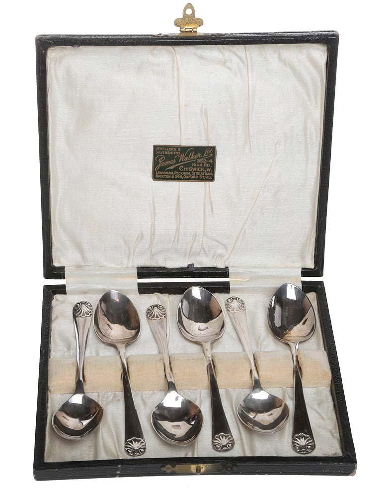 Набор чайных ложек, 6 шт. Металл, глубокое серебрение E.P.N.S. James Walker, Великобритания, 1930-е гг.