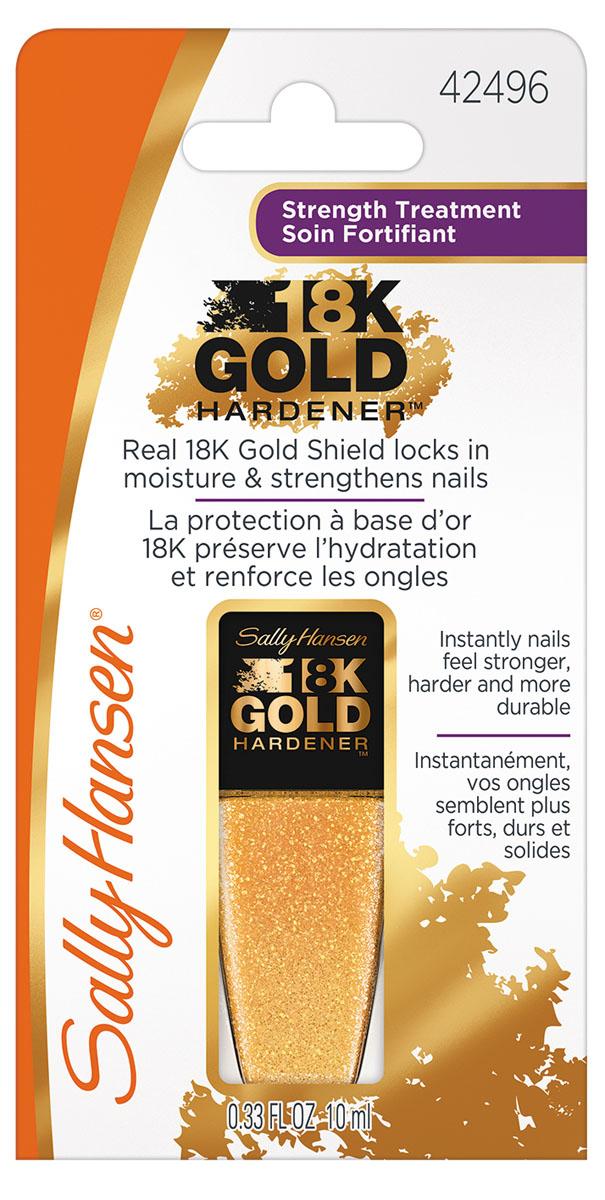 Sally Hansen 18K GOLD Средство для укрепления ногтей gold hardener 10 мл,10 мл30076803000Супер укрепляющее средство для ногтей 18K Gold Hardener помогает удерживать влагу в ногтевой пластине, ухаживает и укрепляет. Эта инновационная новинка, содержащая настоящее 18-ти каратное золото, пептиды и аминокислоты, способствует здоровому и быстрому росту крепких ногтей. Роскошная комплексная формула создаст прочный щит на ваших ногтях, защищая их от сколов и отслаивания, обеспечивая рост крепких и здоровых ногтей