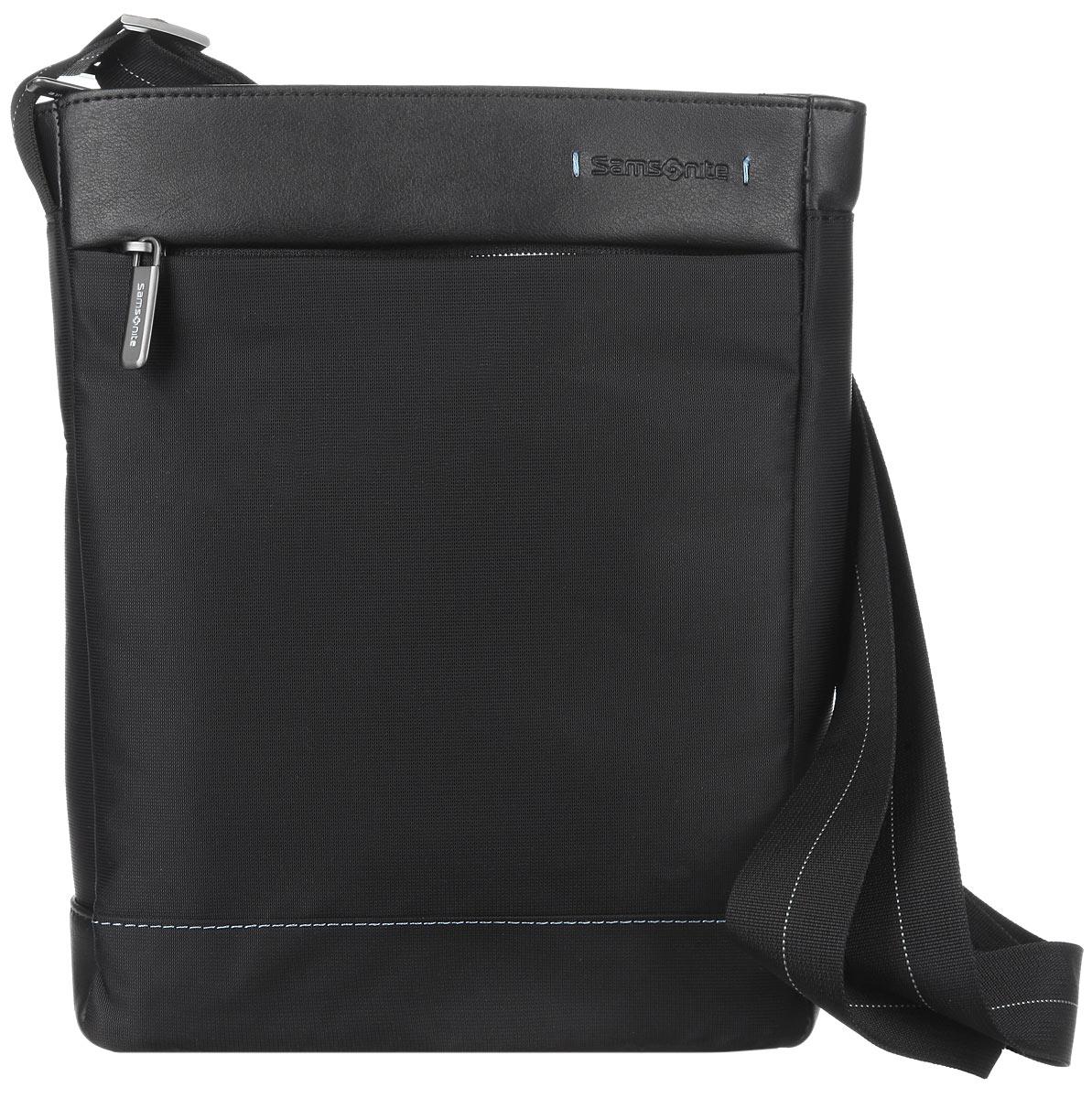 Сумка мужская Samsonite, цвет: черный. 80U-0900180U-09001Стильная мужская сумка Samsonite выполнена из полиэстера, полиуретана и нейлона, оформлена тиснением в виде логотипа бренда. Изделие содержит одно основное отделение, закрывающееся на застежку-молнию. Внутри сумки расположены два фиксатора для авторучек, мягкий карман для планшета и врезной карман на молнии. Задняя сторона сумки дополнена накладным карманом на застежке-липучке. На лицевой стороне сумки расположен потайной карман на застежке-молнии. Изделие оснащено практичным плечевым ремнем регулируемой длины. Сегодня мужская сумка - необходимый аксессуар для современного мужчины.