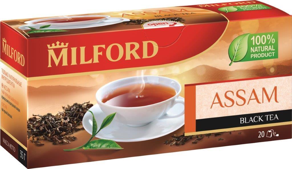 Milford Ассам черный чай в пакетиках, 20 штбая006Яркий, насыщенный, терпкий вкус чая Milford Ассам по достоинству оценят любители классики черных чаев. Жаркое индийское лето, сильные и свежие ветра Ассама - о них напомнит этот удивительный напиток. Заварите чашечку Milford Ассам и ощутите вкус настоящего черного чая.