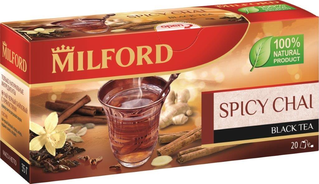 Milford черный чай с пряностями в пакетиках, 20 шт