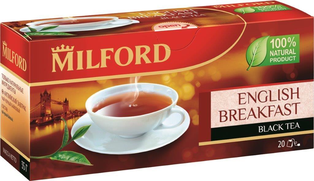 Milford Английский завтрак черный чай в пакетиках, 20 штбая018Milford Английский завтрак - смесь лучших сортов черного байхового чая из Индии и Африки. Имеет классический вкус черного утреннего чая. Ароматная смесь крепких ассамских и более мягких, но насыщенных кенийских чаев создана чайными мастерами-профессионалами.